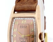 14K Rose Gold Gruen Curvex Precision Wrist Watch 17 Jewel Movement