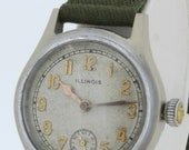 Illinois Base Metal Back Wrist Watch with Green Canvas Strap 17 Jewel Movement