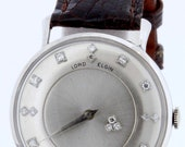 14K White Gold Lord Elgin Mystery Wrist Watch with Diamond Dial