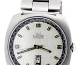 1970s Glycine Automatic Date Day Dial Wrist Watch Stainless Steel Incabloc Swiss Movement