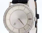 Diamond Bezel 18K Gold Longine Wrist Watch
