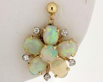 14K Yellow Gold Diamond and Opal Starburst Earrings