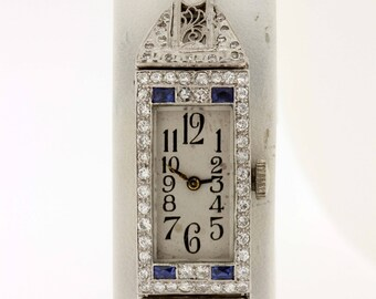 1920s 14K and Platinum Filigree wrist watch M & W Ullmann Co