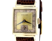 14K Yellow Gold Filled Hamilton Wrist Watch Blue Steel Hands and Roman Numerals
