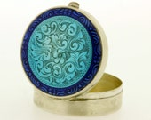 Sterling Silver Blue Enamel Pill Box with Floral Hand Engraving