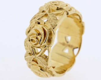 14K Yellow Gold Rose Engraved Ring