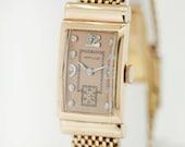 14K Gold Hamilton Buckle Strap Wrist Watch with Diamond Dial