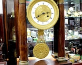 1890-1910s Peony Flower Pendulumn Dial Table Clock French France Dark Wood Columns with Brass Accents