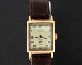 14K Gold Tavannes Wrist Watch with Seconds Dial Rectangular Case