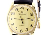 Universal Geneve 18K Yellow Gold Unisonic Swiss Wrist Watch