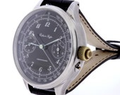 Monopusher Chronograph Russian Market Wrist Watch Swiss Movement Recased Skeleton Back