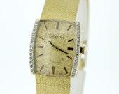 14K Gold Croton Diamond Bezel Wrist Watch