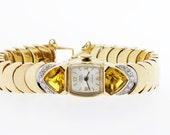 Unia 14K Gold Wrist Watch with Diamonds and Citrine