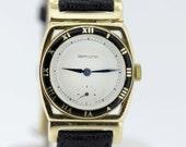 14K Gold Hinged Hamilton Wrist Watch with Black Enamel Ring