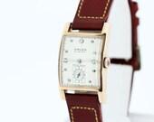 1940s Gruen Curvex Precision 14K Rose Gold Wrist Watch and Diamond Dial