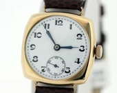 9K Gold Military Square Wrist Watch Hinged Case Swiss Movement