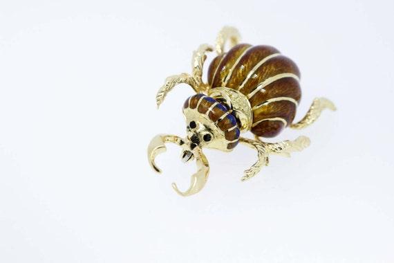 18K Gold Enamel Insect Brooch
