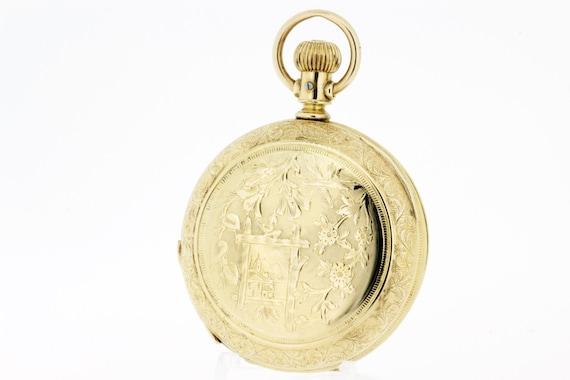 Elgin Fern and Lattice Pocket Watch Engraved Desig