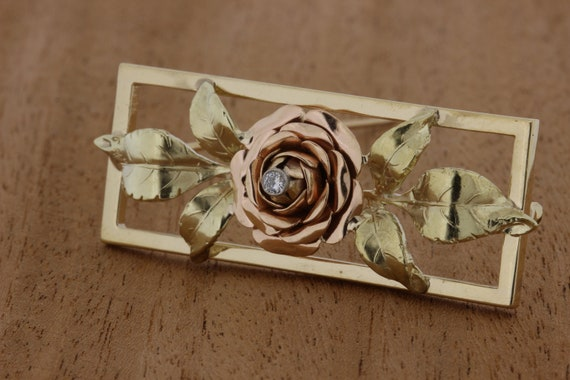 14K Rose Gold and Yellow Gold Rose Brooch