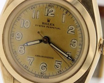 1940s Rolex 14K Bubble Back Wrist Watch