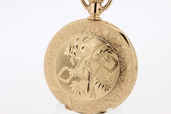 Gold Filled Elgin Pocket Watch with Engraved Bird