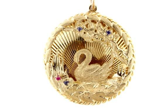 14k Yellow Gold Swan Pendant Charm