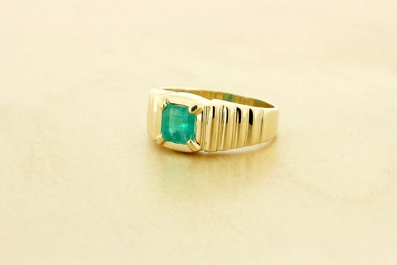 14K Yellow Gold Stepped Tiered Ring with Emerald C