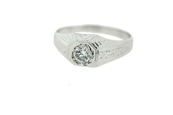 Men's 18K White Gold Diamond Ring