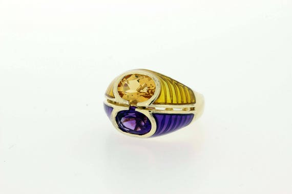 Amethyst and Citrine Enameled Ring Silver