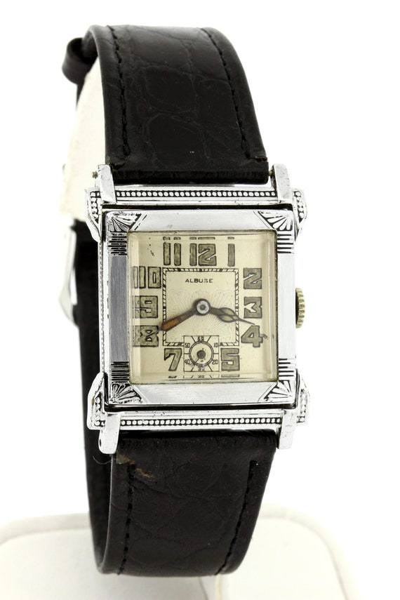 1920s Albuse wrist watch Stainless Steel Engraved