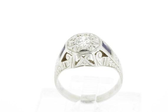 Diamond Center Men's Ring 18K Gold with Sapphire s