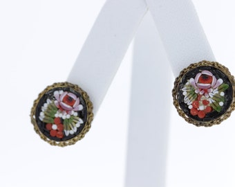 Mosaic Glass Round Clip Earrings