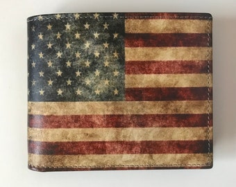 cf1015a0903 American Flag Wallet Men s Leather Wallet with US Flag Stars and Stripes  Wallet Cool Men s Wallet Genuine Leather Bi Fold Made in USA