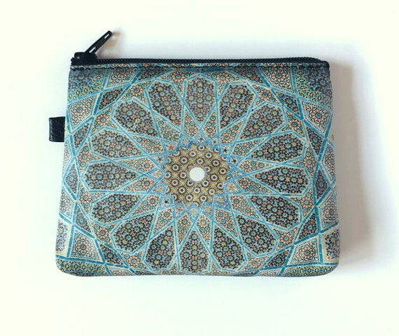 Womens Leather Wallet Turkish Pattern Wallet Turquoise Mosaic Tile Design Wallet with Zippered Change Pocket inside Large Purse Genuine Leather
