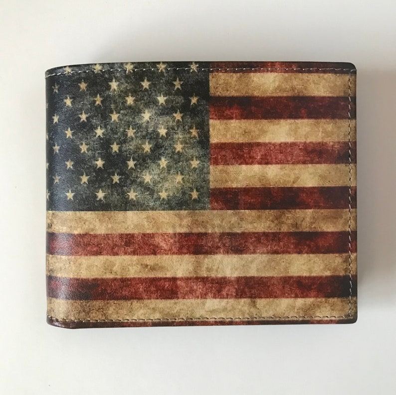 6243f3d979 American Flag Wallet Men's Leather Wallet with US Flag Stars and Stripes  Wallet Cool Men's Wallet Genuine Leather Bi Fold Made in USA