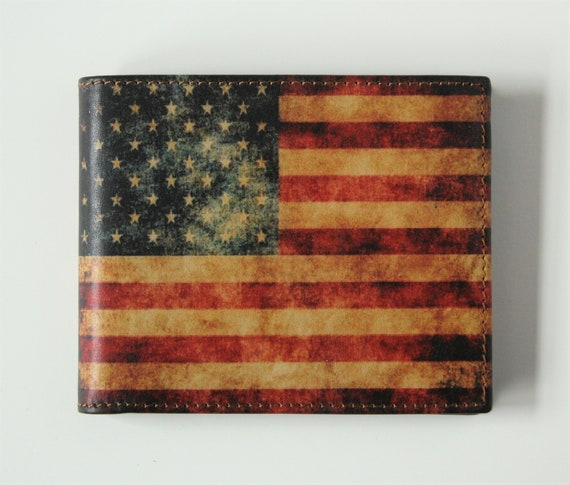 26f58394b4 American Flag Wallet Leather Wallet with US Flag Stars and Stripes Bill  Fold Men's Leather BiFold Slim Credit Card holder Made in USA