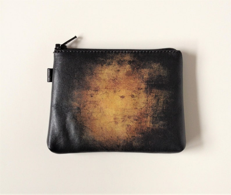 a48f56d535d0 Leather Change Purse Black Coin Purse Abstract Art wallet Zippered Change  Purse Dark Abstract Painting wallet Leather Card Case