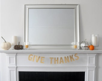 Gold Glitter Give Thanks Glitter Garland and Banner