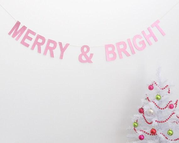 Christmas Garland Rosa fröhlich und BRIGHT Banner | Etsy