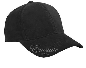 Suede Leather Baseball Cap Made in USA Various Colors Buckle Back