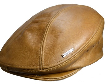 Classic Vintage Leather Ivy Driver Gatsby Cap Hat Made in USA Various Colors f83cfe5dbb8
