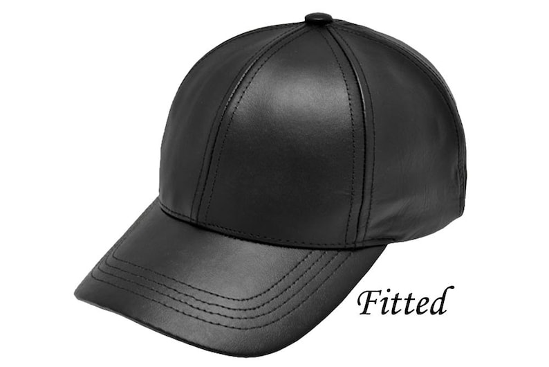 e0667cb7bc5 Leather Baseball Cap Fitted M-XXL Size Made in USA