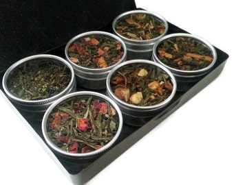 ORGANIC green teas, Mother's Day gift, best friend birthday, loose leaf teas, grandma gift, tea sampler, tea lover, tea bags, black gift box