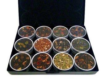 Organic teas, tea Box sampler, for grandma, Best Friend Gift, Tea Sampler, gift for women, loose leaf teas, Tea Lover, Drawstring Tea Bags