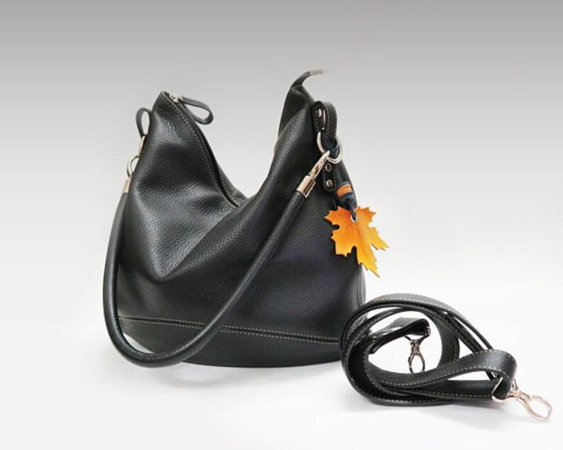 cde0e2d2c465 Black leather bag zippered Hobo Crossbody casual purse