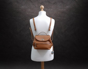 Small convertible bag, Leather backpack purse, women  shoulder bag in camel