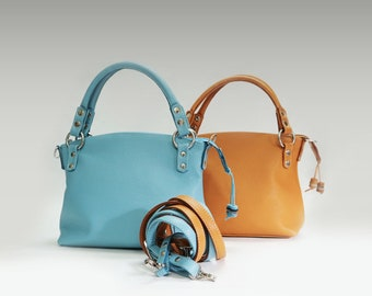 Simple leather bag women's minimalist purse crossbody handbag elegant light blue bag shoulder strap small classic everyday top handle bag