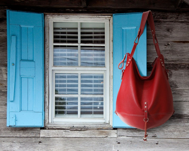b91e2cee8806 Minimalist leather hobo bag red crossbody women shoulder