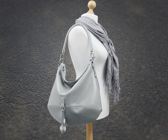 9764ad613228 Gray leather hobo bag crossbody women shoulder bag slouchy