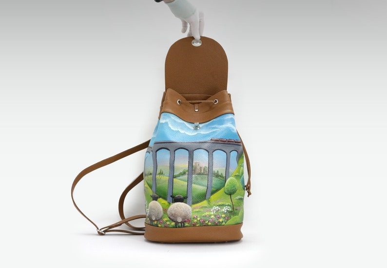 individual painting bag hand painted backpack purse Leather backpack